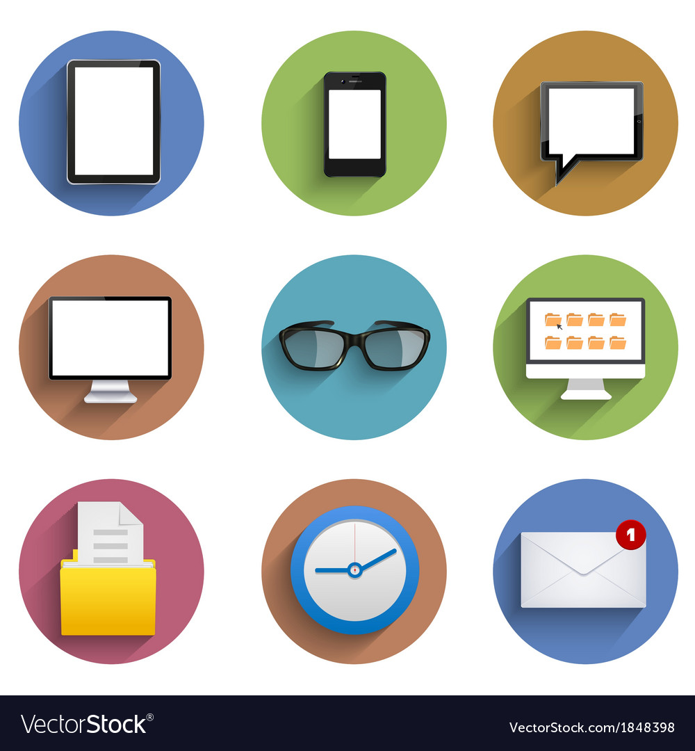 Flat technology circle icon set eps10 vector | Price: 1 Credit (USD $1)