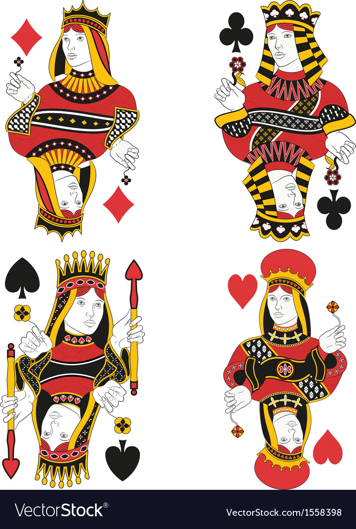 Four queens no card vector | Price: 1 Credit (USD $1)