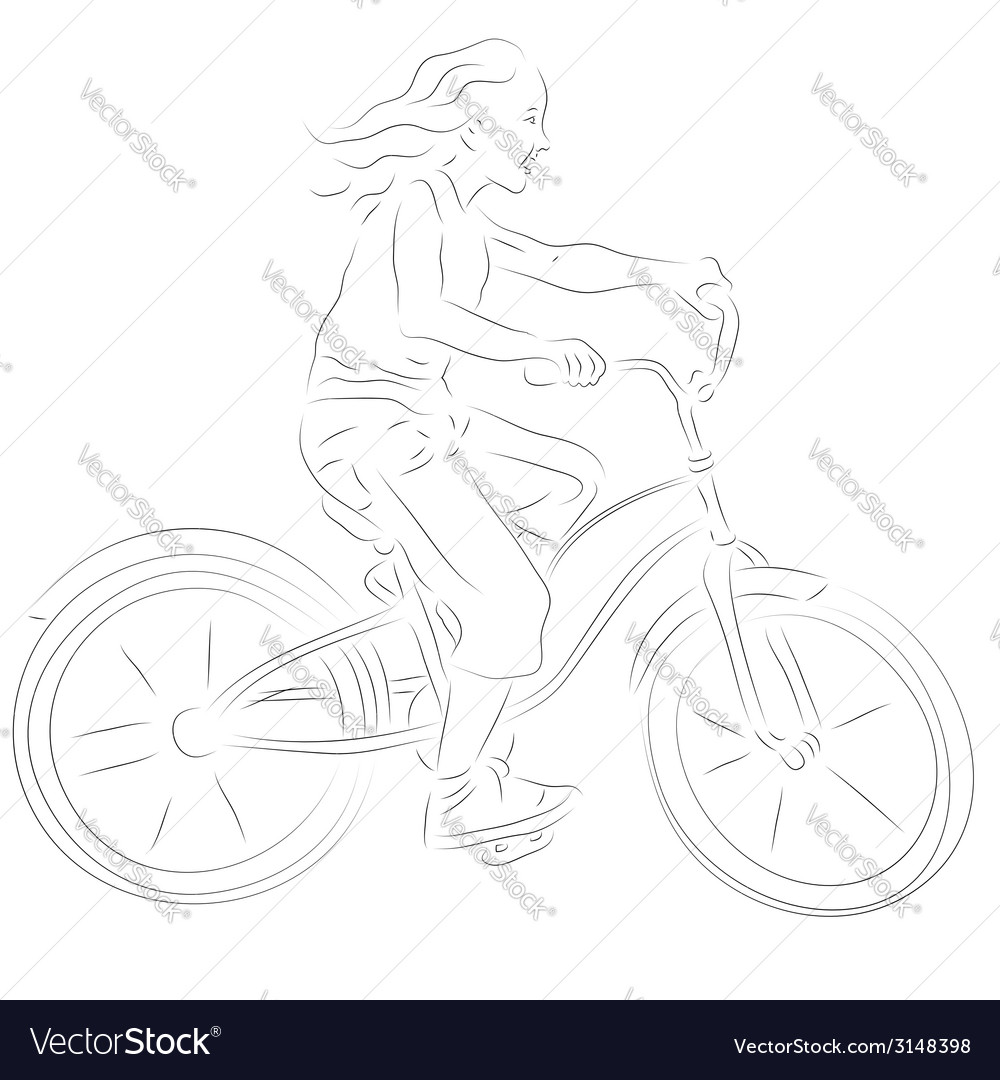 Girl on a bike sketch vector | Price: 1 Credit (USD $1)