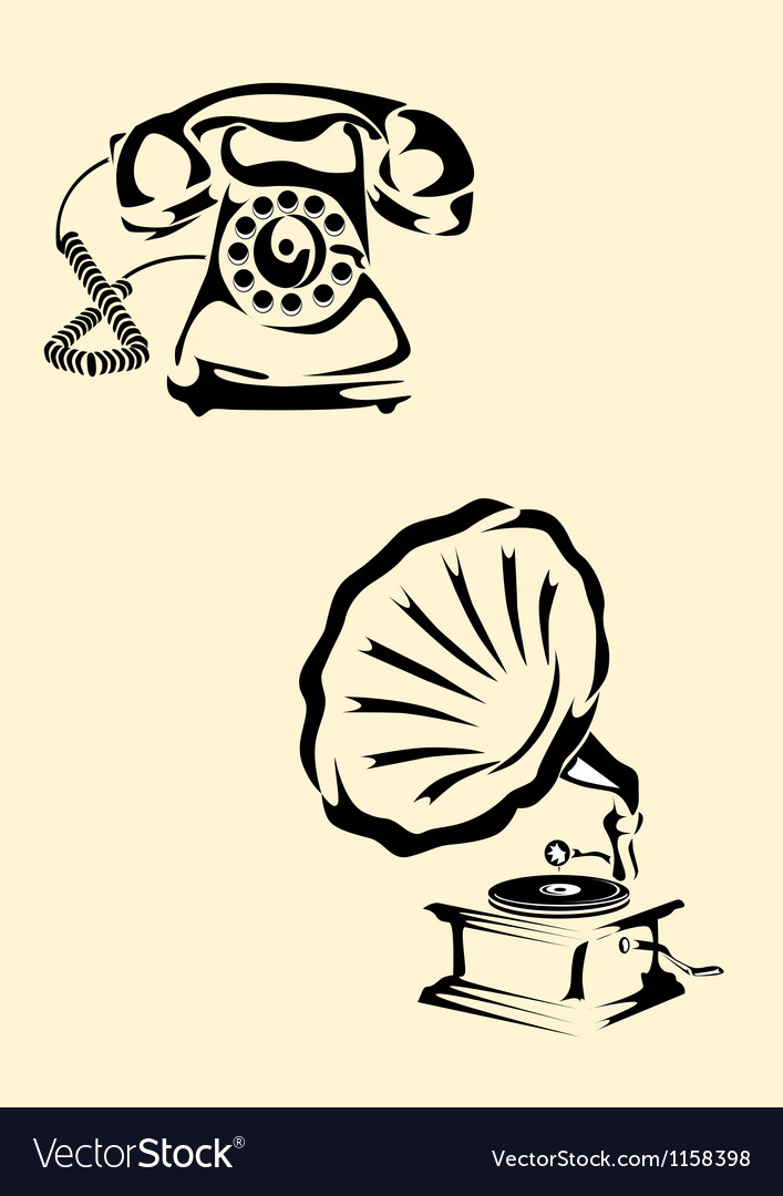 Gramophone phone vector | Price: 1 Credit (USD $1)