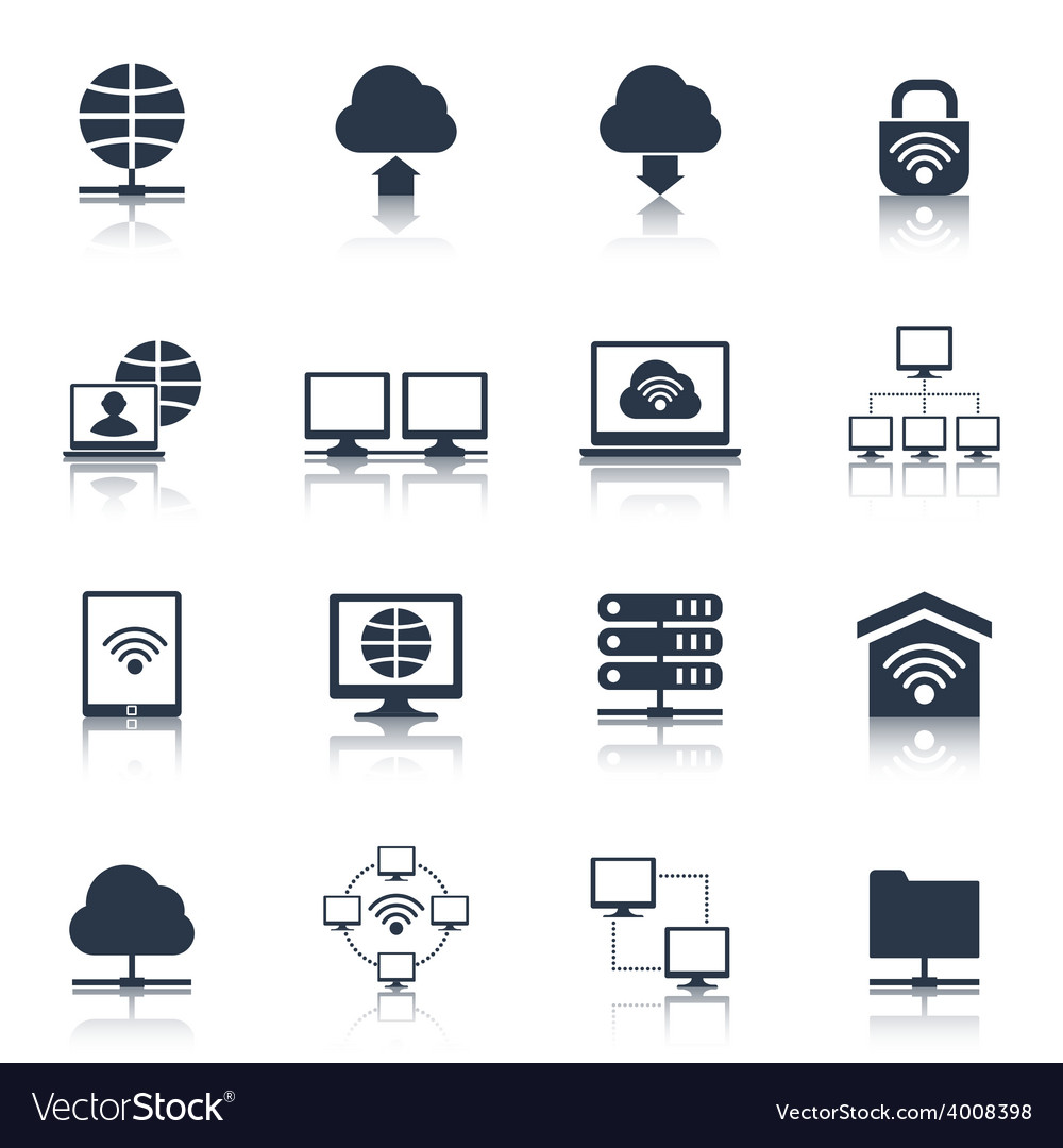 Network icons black vector | Price: 1 Credit (USD $1)