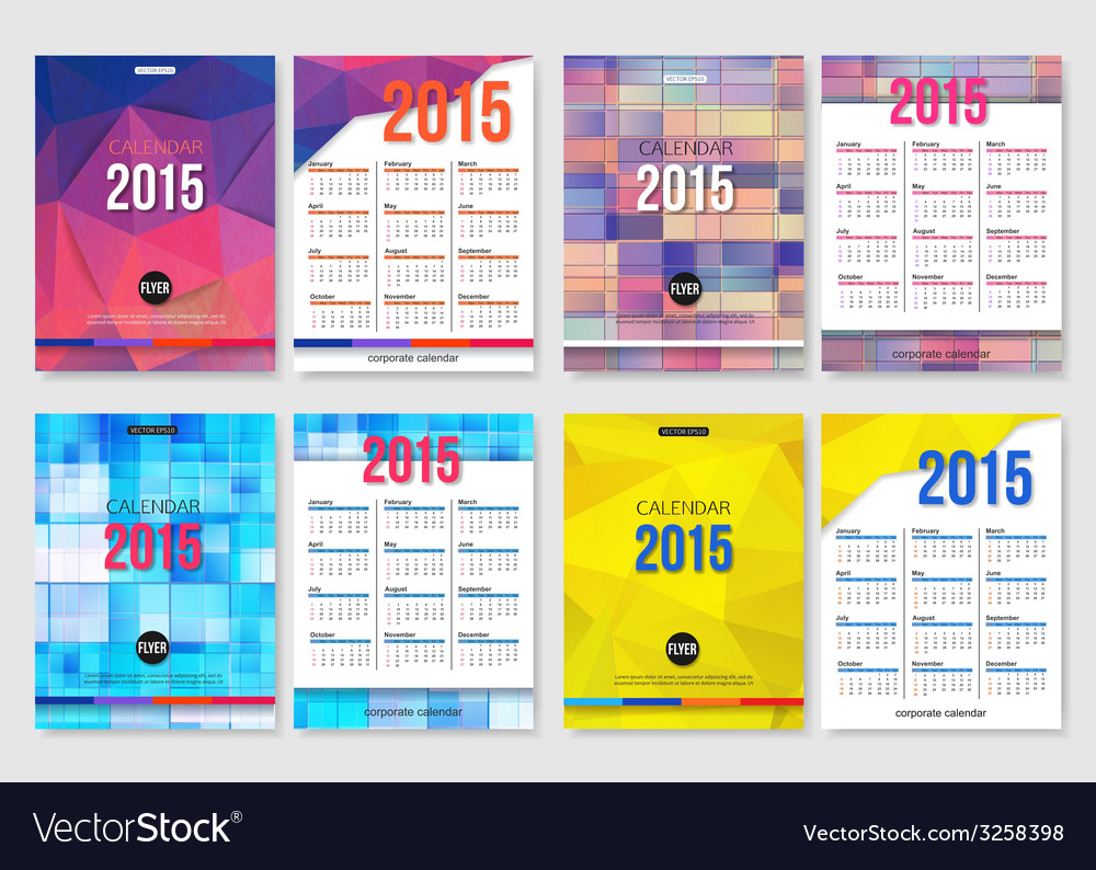 Set of calendar template brochure geometric design vector | Price: 1 Credit (USD $1)