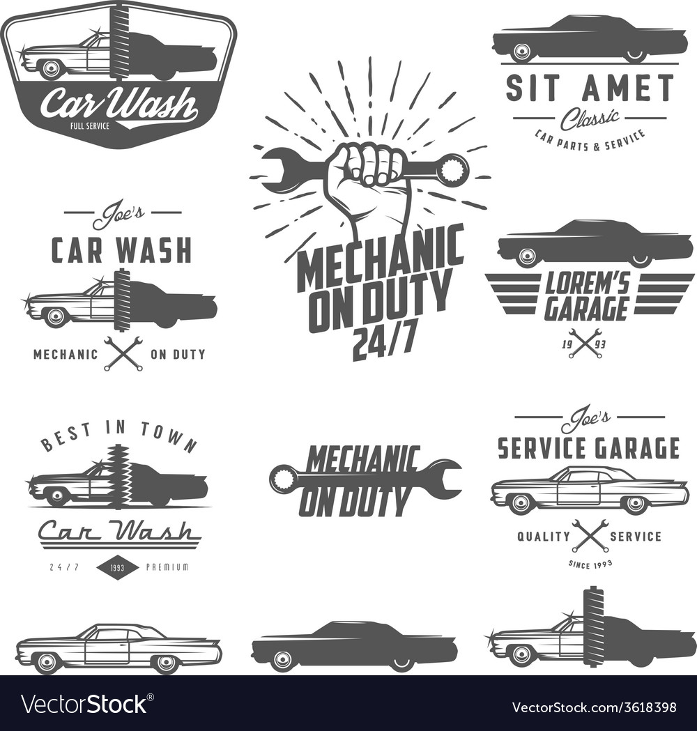 Set of car service labels emblems and logos vector | Price: 1 Credit (USD $1)
