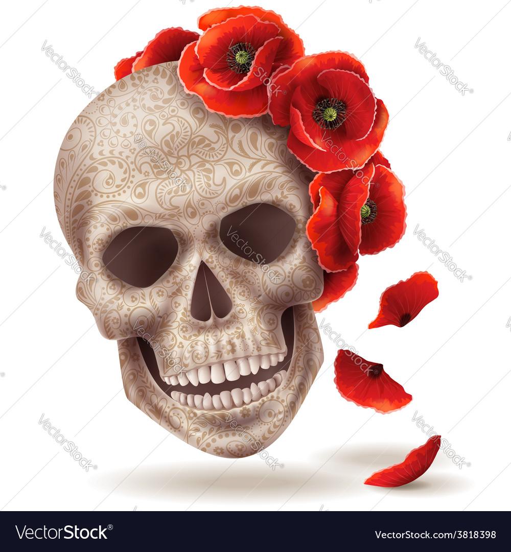 Skull poppy art vector | Price: 3 Credit (USD $3)