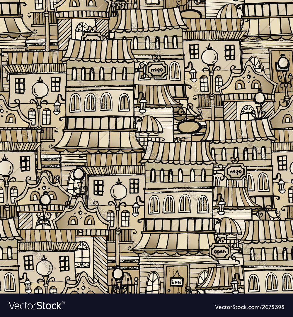Vintage houses seamless pattern vector | Price: 1 Credit (USD $1)