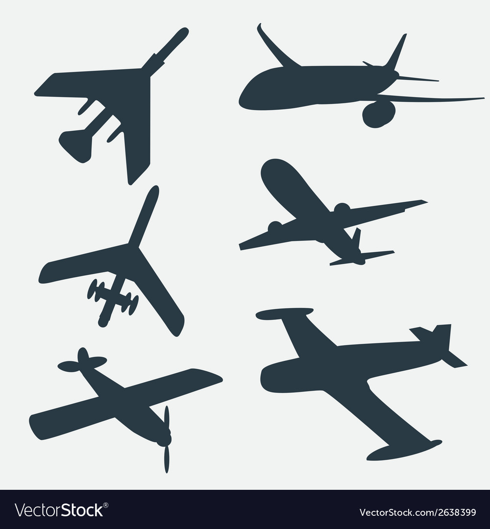 A group of planes in all different angles vector | Price: 1 Credit (USD $1)