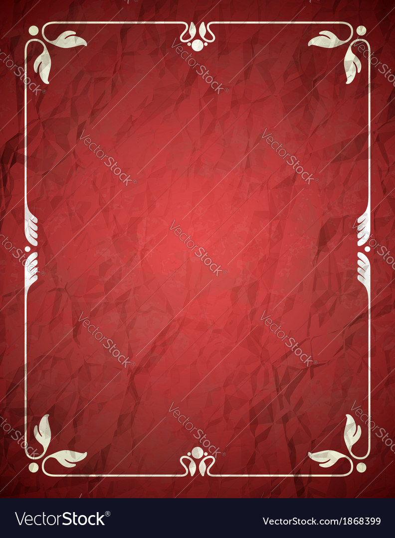 Aged crumpled red frame with vintage ornament vector | Price: 1 Credit (USD $1)