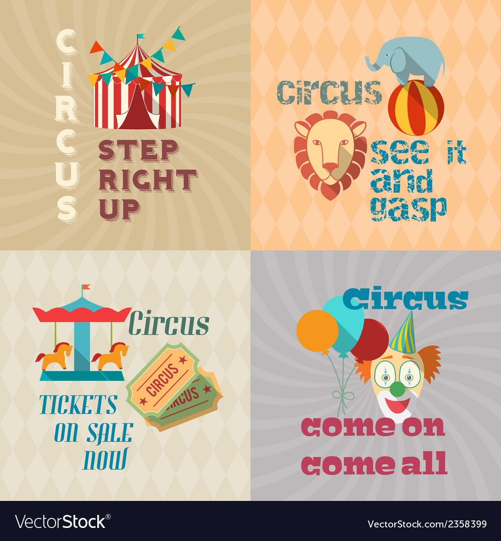 Circus vintage flat pictograms composition vector | Price: 1 Credit (USD $1)