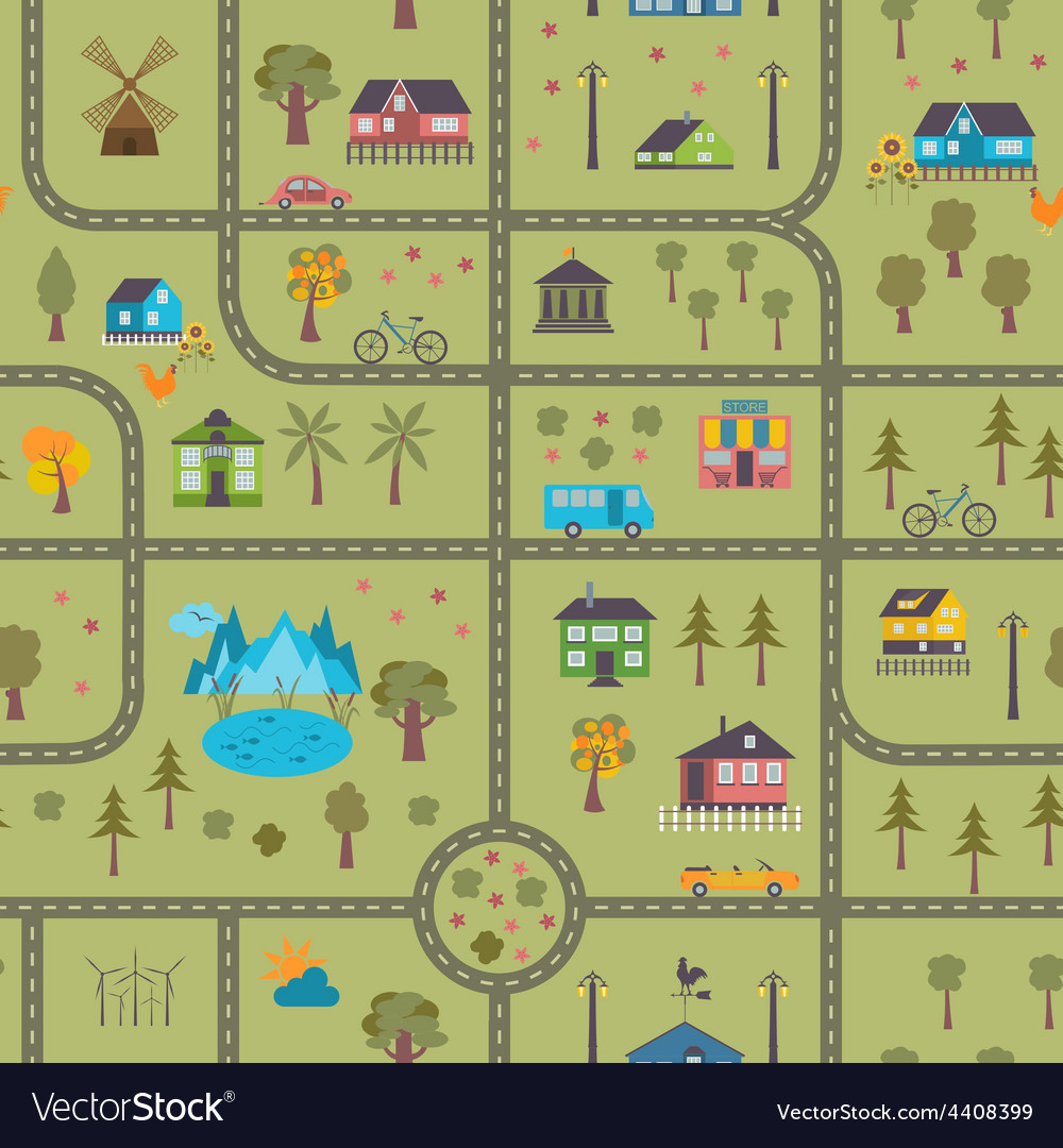 City map seamless pattern vector | Price: 1 Credit (USD $1)