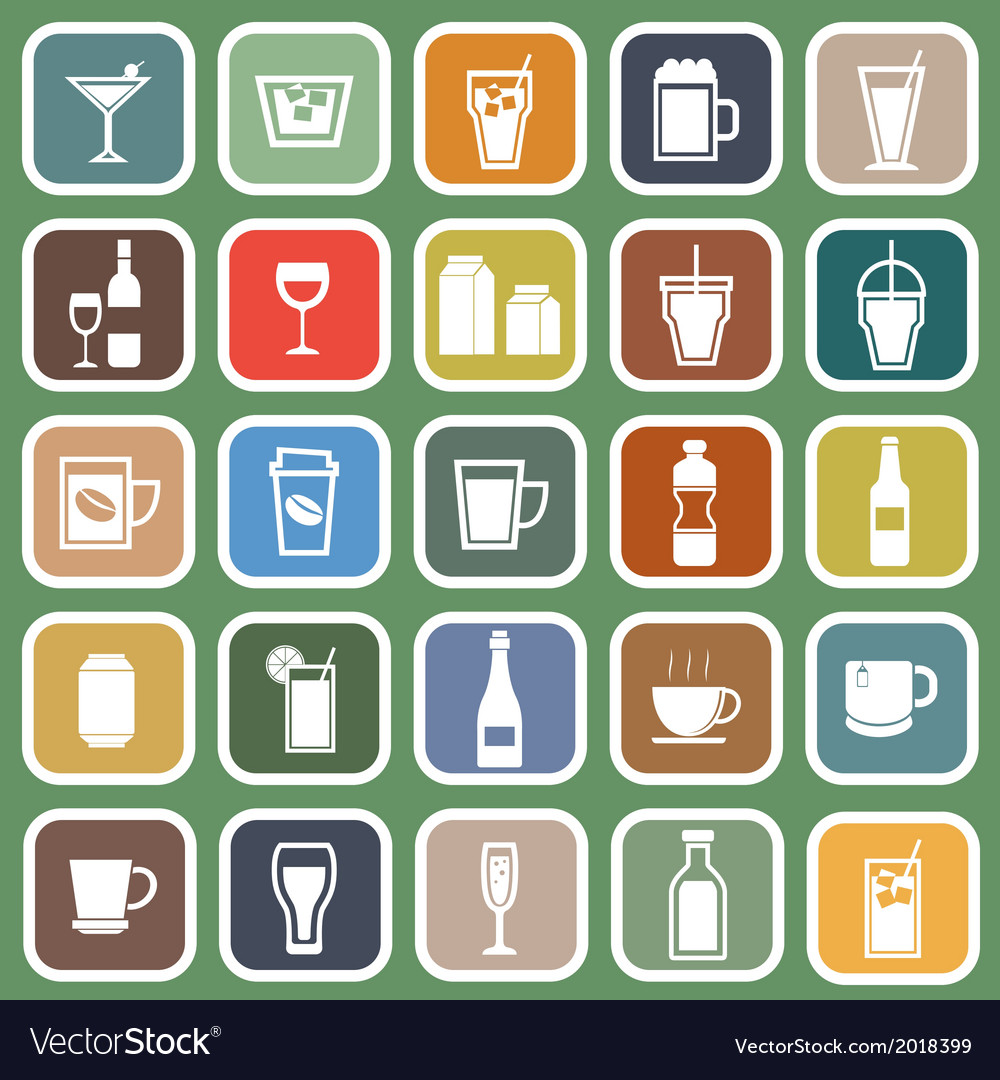 Drink flat icons on green background vector | Price: 1 Credit (USD $1)