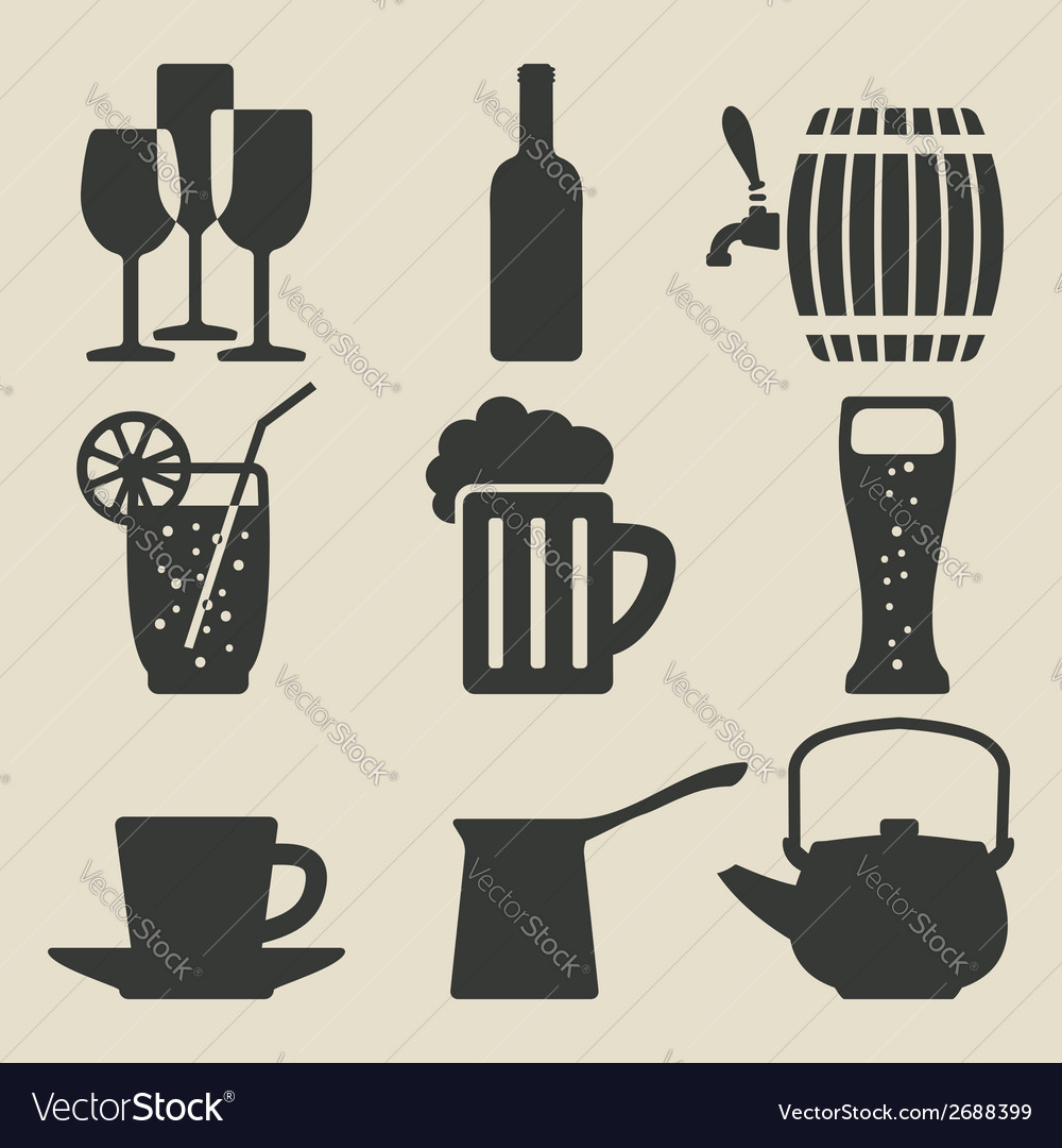 Drink icons set vector | Price: 1 Credit (USD $1)