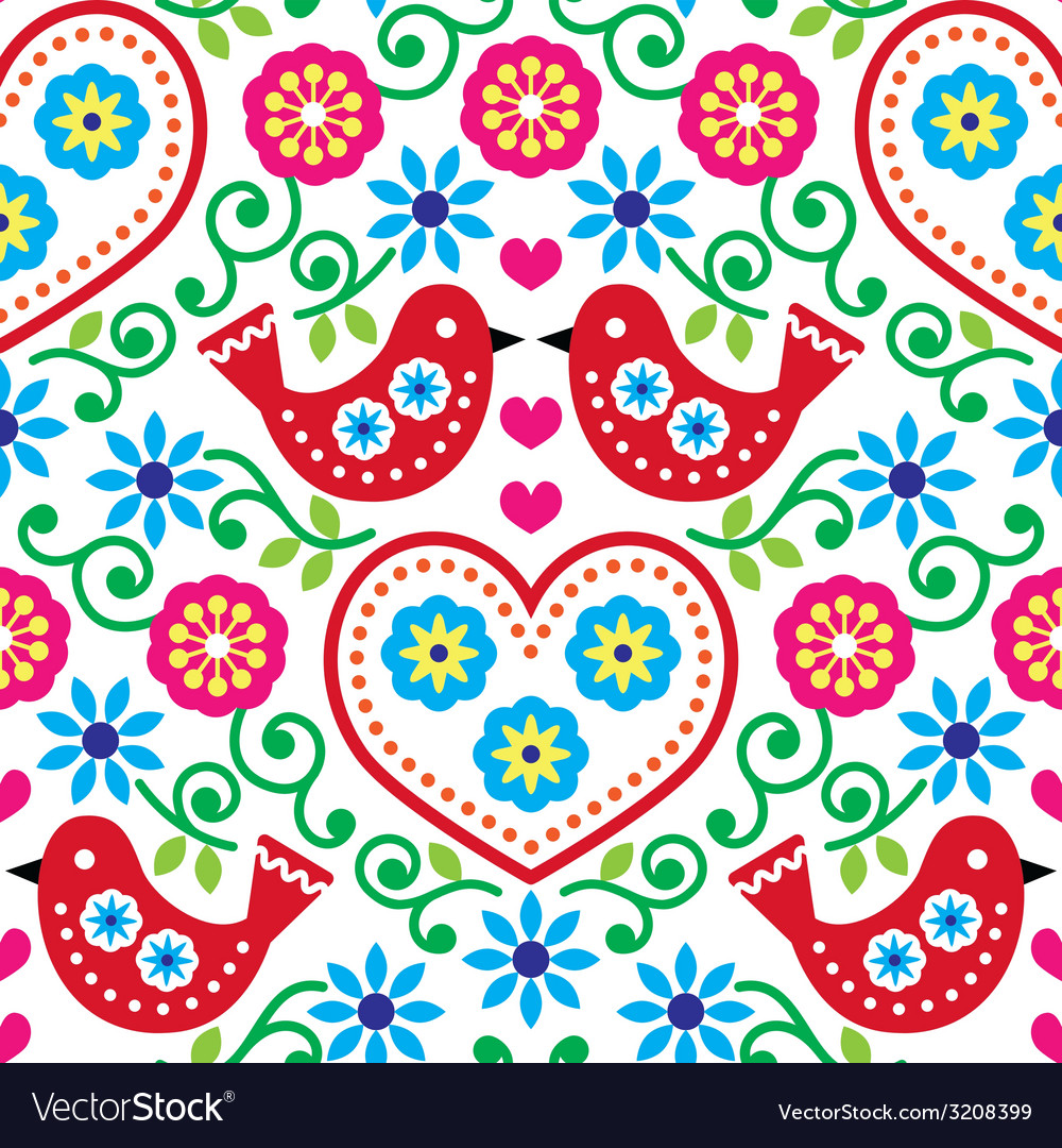 Folk art seamless pattern with flowers and birds vector | Price: 1 Credit (USD $1)