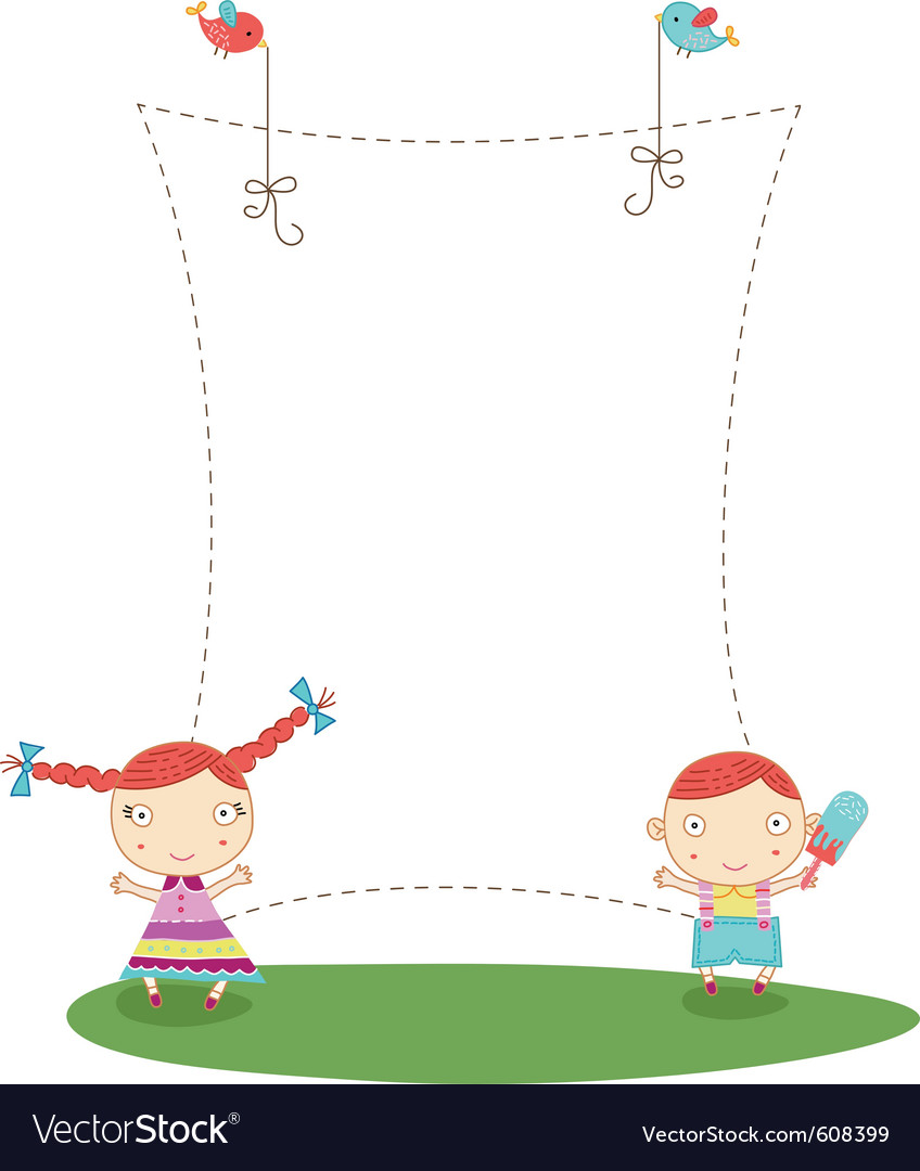 Frame with kids vector | Price: 1 Credit (USD $1)