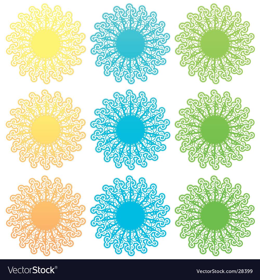 Funky retro floral sun set vector | Price: 1 Credit (USD $1)