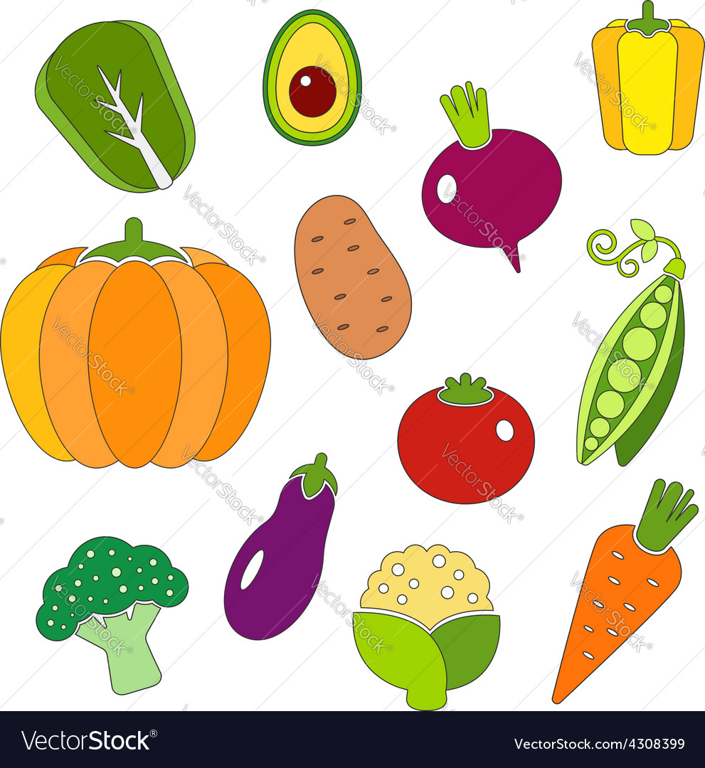 Healthy diet icons fresh organic vegetables vector | Price: 1 Credit (USD $1)