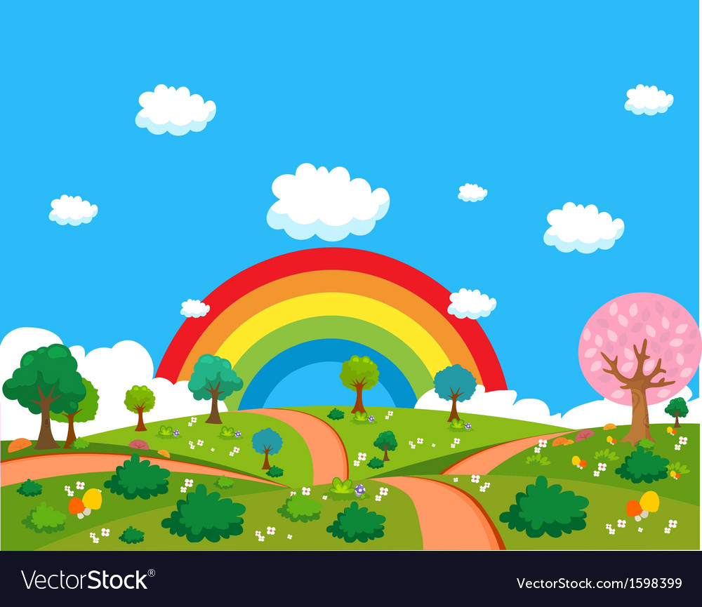Landscape lawn flowers vector | Price: 3 Credit (USD $3)