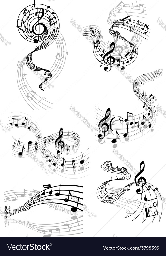 Musical waves with music notes vector | Price: 1 Credit (USD $1)