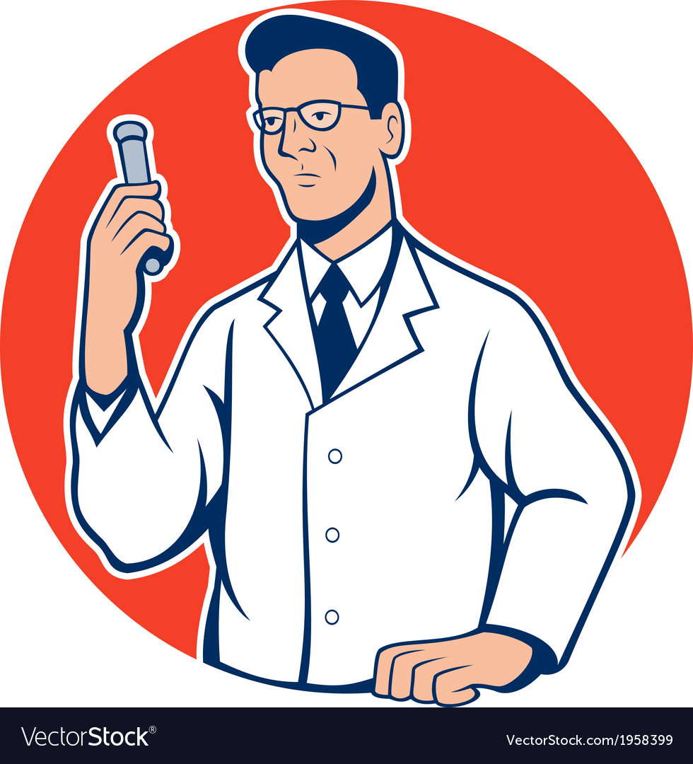 Scientist lab researcher chemist cartoon vector | Price: 1 Credit (USD $1)
