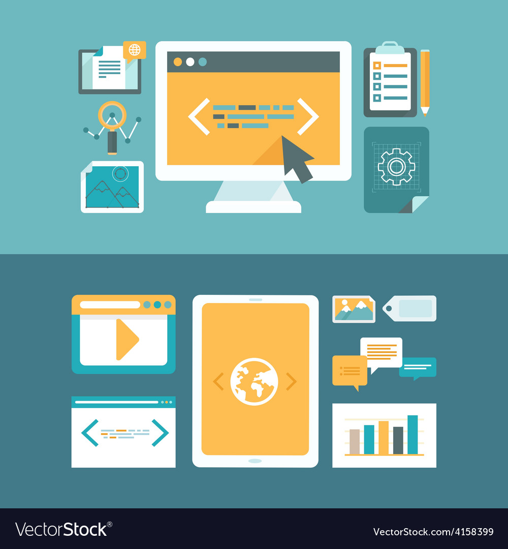 Web development and digital content marketing vector | Price: 1 Credit (USD $1)
