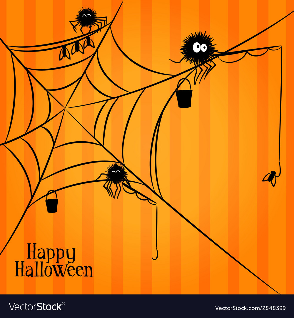 Web spiders and fishing in halloween style vector | Price: 1 Credit (USD $1)