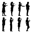 Black silhouettes of mans and womans singing vector