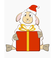 Sheep with gift box vector