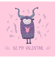 Monster with heart be my valentine vector