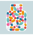 Medical background with pills and capsules in vector
