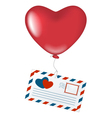 Love letter with heart balloon vector