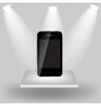 Mobile phone on white shelve on light grey vector