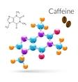 Caffeine molecule 3d vector