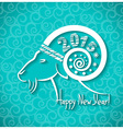 Happy new year blue card with goat horn and text vector