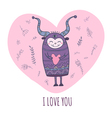 Monster with heart i love you vector