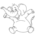Outlined cheerful elephant vector
