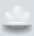 Shelf on white wall with spotlights vector