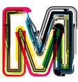 Colorful grunge font letter m vector