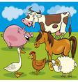 Cartoon farm animals group vector
