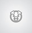 Pig outline symbol dark on white background logo vector