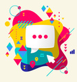 Speech bubble on abstract colorful spotted vector