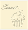 Sweet monochrome card with cupcake vector