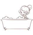 A simple sketch of a girl at the bathtub vector