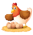 A hen and her seven eggs vector