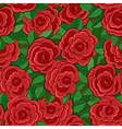 Seamless background with red roses and leaves vector