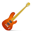 Abstract orange fretless bass guitar isolated on vector