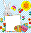 Patchwork easter card with eggs and rabbit vector