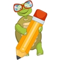 Funny turtle writing vector