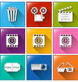 Buttons with the things found at the movie house vector