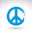Hand drawn simple peace icon brush drawing blue vector