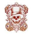 Gambling skull with top hat vector