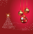Christmas ball tree red background vector
